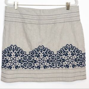 FLOREAT NAVY EMBROIDERED STRIPE A-LINE MINI SKIRT